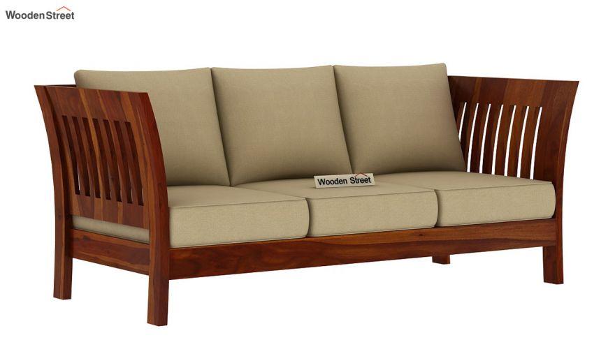 Raiden 3 Seater Wooden Sofa (Honey Finish)-2