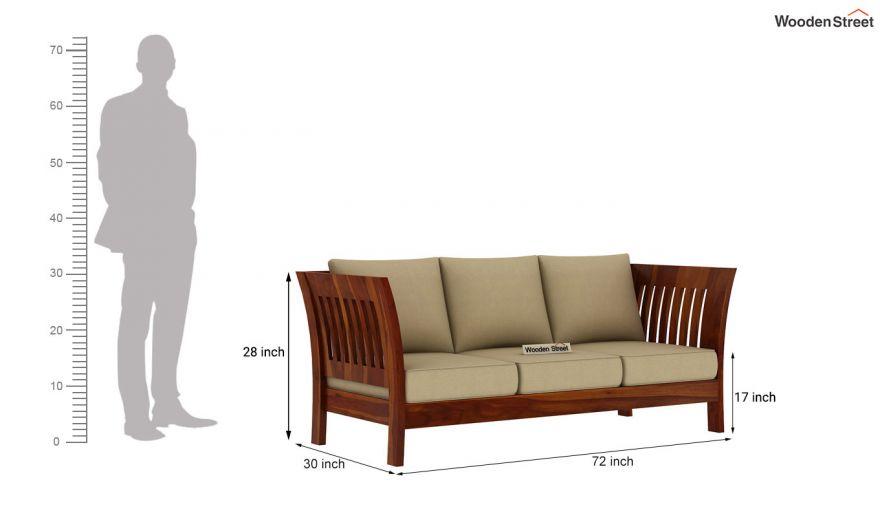 Raiden 3 Seater Wooden Sofa (Honey Finish)-4