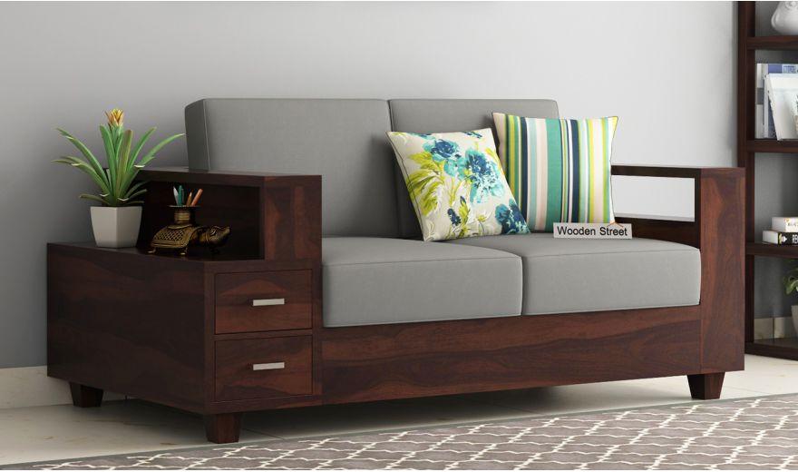 Solace 2 Seater Wooden Sofa (Walnut Finish)-1
