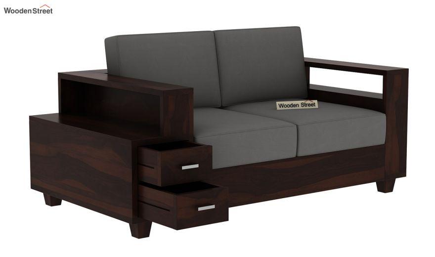 Solace 2 Seater Wooden Sofa (Walnut Finish)-4