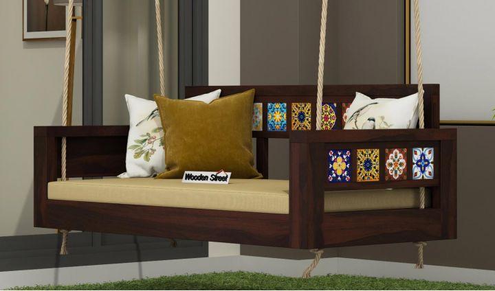 Boho Wooden Swing Chair (Walnut Finish)-1