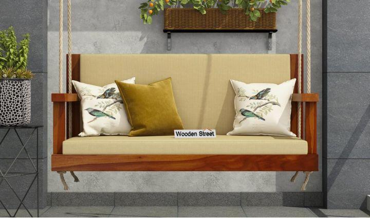 Elite Wooden Swing Chair (Honey Finish)-2