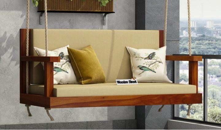 Elite Wooden Swing Chair (Honey Finish)-1