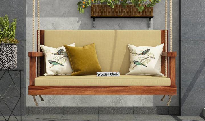 Elite Wooden Swing Chair (Teak Finish)-2