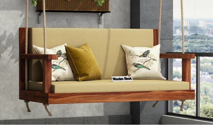 Elite Wooden Swing Chair (Teak Finish)-1