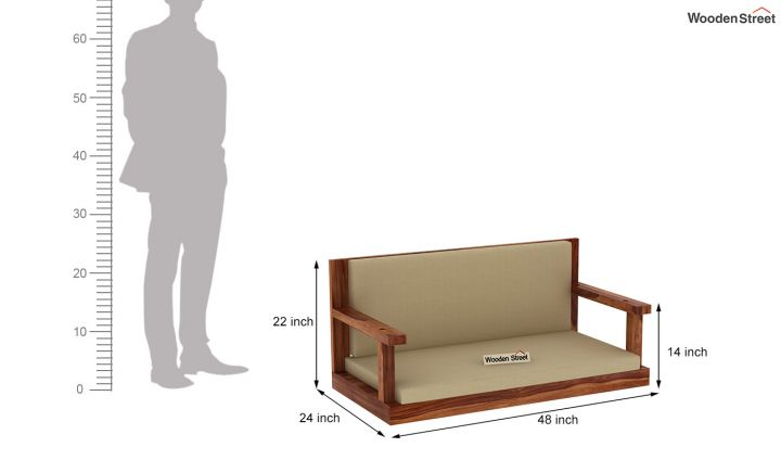 Elite Wooden Swing Chair (Teak Finish)-5