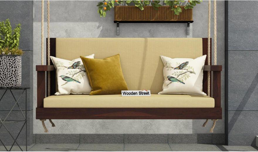 Elite Wooden Swing Chair (Walnut Finish)-2