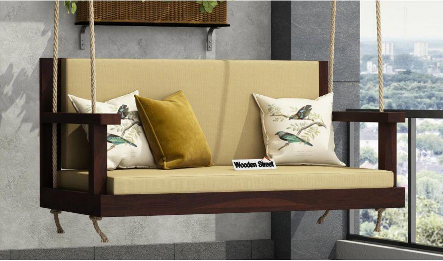 Elite Wooden Swing Chair (Walnut Finish)-1