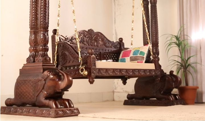 Maharaja Wooden Swing (Walnut Finish)-2