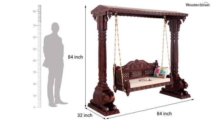 Maharaja Wooden Swing (Walnut Finish)-5